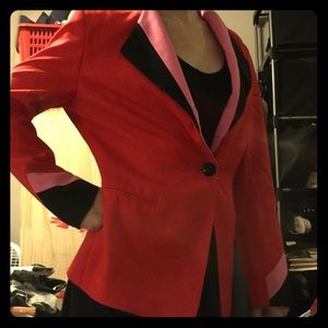 Red, pink, and black blazer